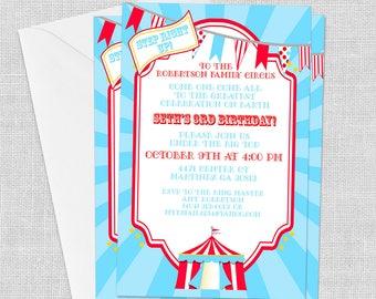 DIGITAL Circus Invitation, 5 x 7, Big Top, Carnival, Birthday, Baby Shower Invitation, Customized w/ Your Wording, JPEG or PDF File