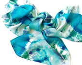 Tie dyed Silk Scarf SeaGreen, Aqua, Green and Navy - Custom Order for Sylvette Arroyo