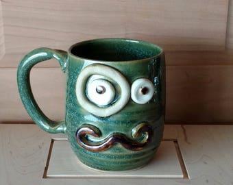 16oz Big Mug. Man's Mustache Mug Monocle Eyepiece. Guys VALENTINES DAY. Handmade Stoneware Pottery Mug. Hot Tea Coffee Cup. Frosty Green.