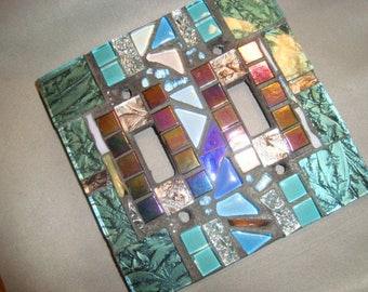 MOSAIC LIGHT SWITCH Cover -Wall Plate, Wall Art, Double Light Switch, Van Gogh Glass, Turquoise, Iridescent Black