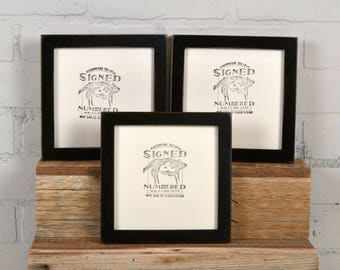 "6x6"" Picture Frame in PeeWee Style with Vintage Black Finish - IN STOCK - Same Day Shipping - Gallery Frame 6 x 6"