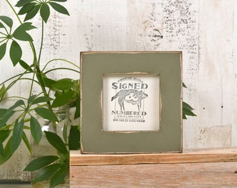 4x4 Square Picture Frame in 1.5 inch Standard Style with Super Vintage Old Green Finish - IN STOCK - Same Day Shipping Frame Green 4 x 4""