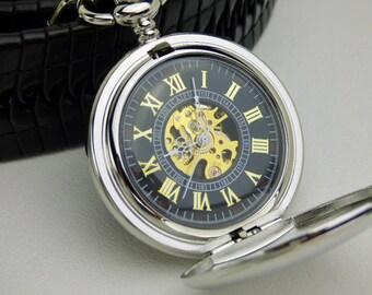 Elegant Pocket Watch in Silver Black & Gold, Pocket Watch Chain, Groomsmen Gift, Engravable Pocket Watch, Personalized Gift - Item MPW334