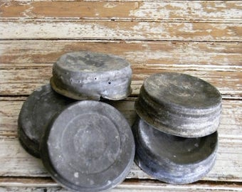 Vintage Zinc Jar Lids, Vintage Jar Lids, Lot of 5 Vinatge Zinc and Porcelain Ball Jar Lids for Crafts, DIY, Farmhouse Decor, Craft Lot