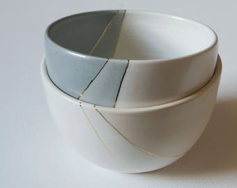 Handmade Pottery Bowl; Ceramic Soup Bowl; Ceramic Cereal Bowl; Pottery; Gold
