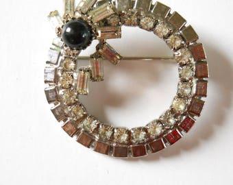 Vintage Rhinestone Circle Pin • Rhinestone and Black  Brooch