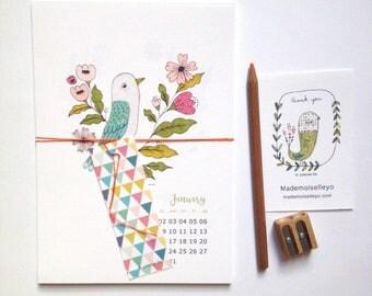 2018 calendar, 2018 wall or desk calendar, 2018 illustrated calendar, birds, reindeer, floral, nature illustrations - 2018 printed calendar