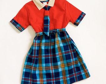 "Vintage 1960s Girls Size 6 Dress, 60s Does Preppy One Piece Dress Deadstock Orange Blue Plaid Cotton Belted Tie Collar,  b26"" L24"""