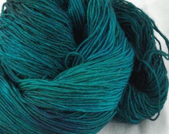 Merino Superwash Sock Yarn, Teal-o-sourus Rex, Hand Dyed