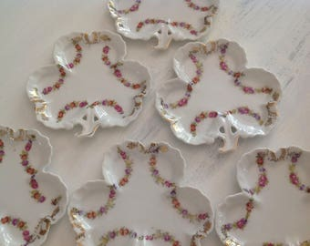 Prussia Porcelain Small Plates ~ Antique Clover Shaped Dishes With Roses ~ Fine China ~ Collectible Rare China ~ Prussia Crown Letter B