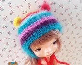 Rainbow bear mohair hat for Irrealdoll Pukifee Lati Yellow Mui Chan 5-6