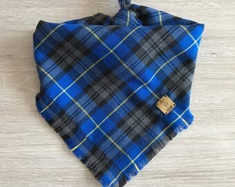 Royal Blue Tartan Dog Bandana / dog bandana / tartan / pet accessories / pet neckwear / dog supplies / scarf