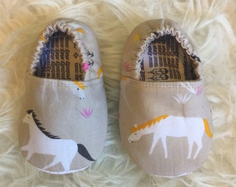 Wild Horses Soft Sole Baby Shoes Elastic Backed Booties Horse Toddler Slippers Size Newborn to 13 - Made to Order