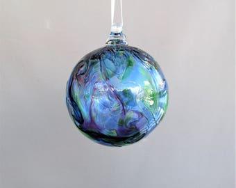 Hand Blown Art Glass Christmas Ornament/Ball/Suncatcher, Blue Multicolored.
