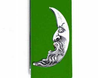 Man in the Moon Money Clip inlaid in Hand Painted Enamel Green Opaque Art Nouveau Inspired with Personalized and Assorted Color Options