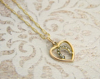Victorian 9ct Seed Pearl Horseshoe Pendant Necklace, 9ct Solid Gold, Seed Pearl Pendant, Heart Pendant, Horseshoe Pendant, Bridal Pendant