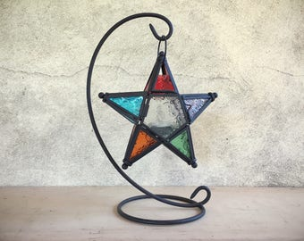 Boho patio star lantern pressed glass candle holder hanging Moroccan bohemian decor
