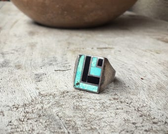 Vintage Size 11.25 Men's black onyx and turquoise ring Southwestern jewelry gift for men