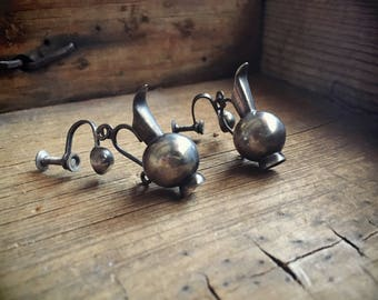 Rare William Spratling Silver Earrings Miniature Pitchers, Mexican Silver Earrings, Water Jewelry Taxco