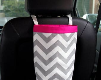 On Sale CAR TRASH BAG, Gray Chevron, Women, Gifts for her, Car Litter Bag, Auto Accessories, Auto Bag, Car Organizer, Headrest, Oilcloth Lin
