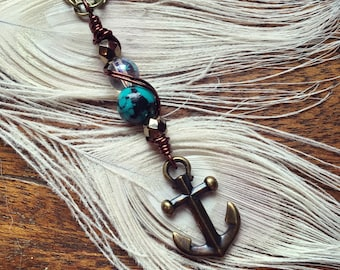 Anchor Wire Wrapped Charm Necklace