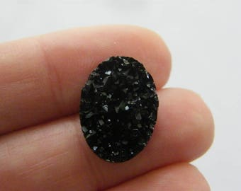 BULK 50 Black resin druzy cabochon 18 x 13mm FS225