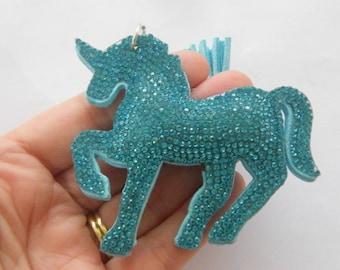 1 Unicorn blue rhinestone pendant silver tone A906