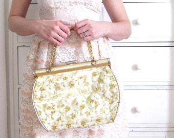 ON SALE Gold Purse / 1960s Plastic Purse / 50s 60s Purse / Gold Handbag