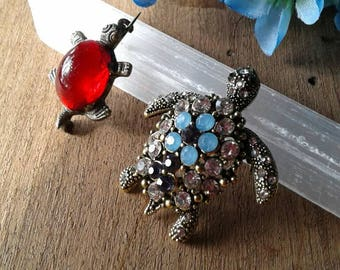 Two Vintage Turtle Brooches Turtle Pin Turtle Brooch
