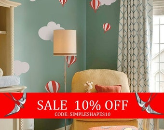 Summer Sale - Hot air balloon with Clouds Decal Set - Kids vinyl Wall Sticker