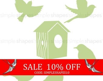 Summer Sale - Additional Set of Birds and Birdhouse for Shelving Tree Wall Decal