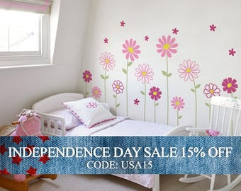 Independence Day Sale - Flower Wall Decal - Daisy Wall Sticker - Floral Wall Decor - Childrens Flowers - Baby Nursery Flower Decals -