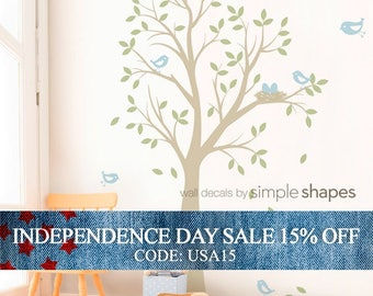 Independence Day Sale - Tree Wall Decal with Birds and Nest - Nursery Decor