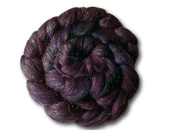 Combed Tops 100g Roving Merino Sparkles Glitter Spinning Fiber Fibre Felting Weaving Galaxy Dark Goth Purple Andromeda Sock Nylon Blend