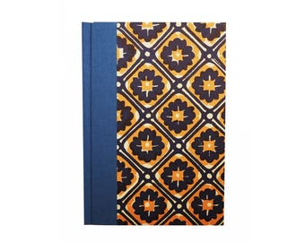 A6 Address Book, blue orange batik pattern, small telephone book, unisex gift idea