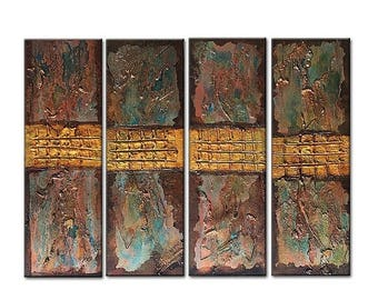 Abstract Art Textured Metallic Canvas Painting Contemporary Galley Design by Henry Parsinia