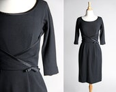 Vintage 1950's Black Cocktail Dress - 50s Evening Party Straight Fitted Dress Bow Long Sleeves Boat neck Knit - Size Small