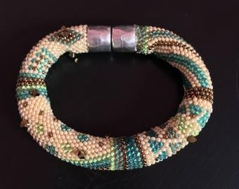 """Bead Crochet Bracelet Pattern & Kit, """"Beginnings"""" - Green-Bronze Color Bead Kit"""