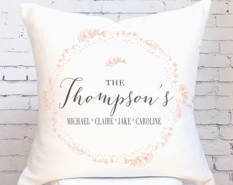 Cotton Anniversary Gift Wedding Gift Pillow Cover Personalized Blush Wreath Wedding Pillow Cover Cotton Anniversary Gift Pillow Cover