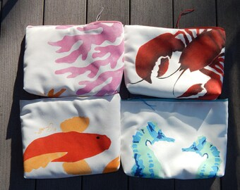"""LOTS MORE EVERYTHING Bags two red lobsters aqua seahorse coral reef orange koi hand painted tablet case cosmetic makeup painted 9""""x12""""x2.5"""""""
