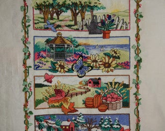 New Finished Completed Cross Stitch - Pastoral four seasons - L52