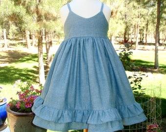 Girls Chambray Dress - Girls Country Dress - Girl Toddler Western Dress - Double Ruffles Sundress Sizes 6m 12m 18m 2T 3T 4T 5 6