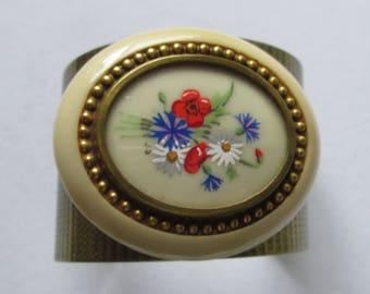 Bronze Cuff with Vintage Flower, Vintage Oval Flower,  Statement Bracelet, Flower Bronze Cuff, OOAK, Unique, Flower Power Diva Gal - Gift