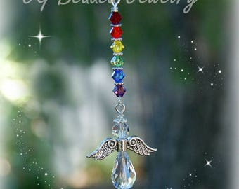 Rearview Rainbow Angel Ornament, Car Mirror Guardian Angel Charm, Window Decoration, Sun Catcher