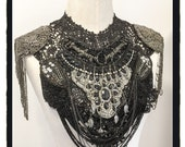 Black and silver beaded black lace collar with epaulettes and chains steam punk burning man burlesque festival