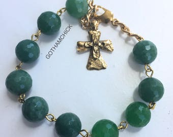 Forest Green Rosary Bracelet in Faceted New Jade RB-29