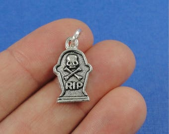 Tombstone Charm - Silver Plated Cemetery Gravestone Charm for Necklace or Bracelet
