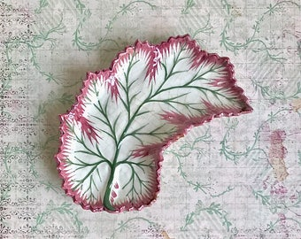 Vintage Cabbage Leaf Crescent Dish Majolica Portugal Red Green White