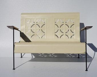Mid century 1950s pressed metal settee
