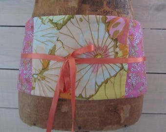 "Belt obi mini-corset patchwork ""waterlily"" Japanese spirit and pink Liberty"